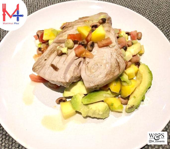 Pan Roasted Tuna Served with a Mango & Bean Salsa & Avocado