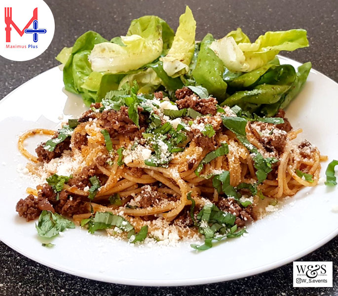 Lamb Ragu with Spaghetti and Green Salad. Lamb Mince in a thick Tomato, Balsamic Vinegar Ragu with 'free from' Spaghetti