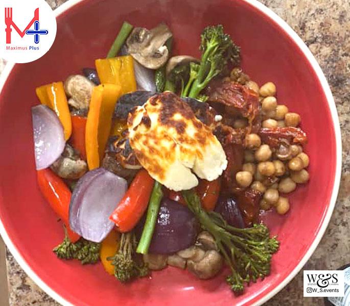 Roasted halloumi chickpeas and vegetables