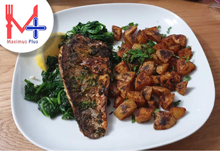 Sea Bass With Seasoned Potatoes & Spinach
