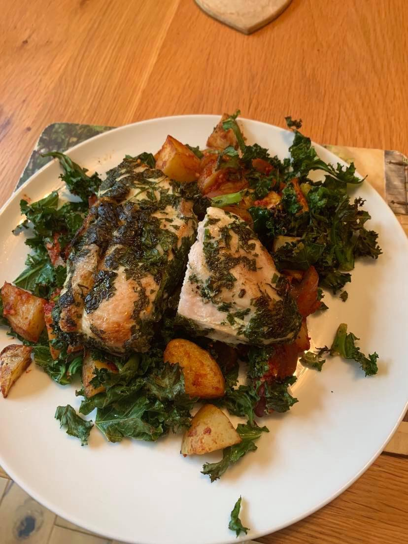 Chicken with Potatoes Bravas & Kale